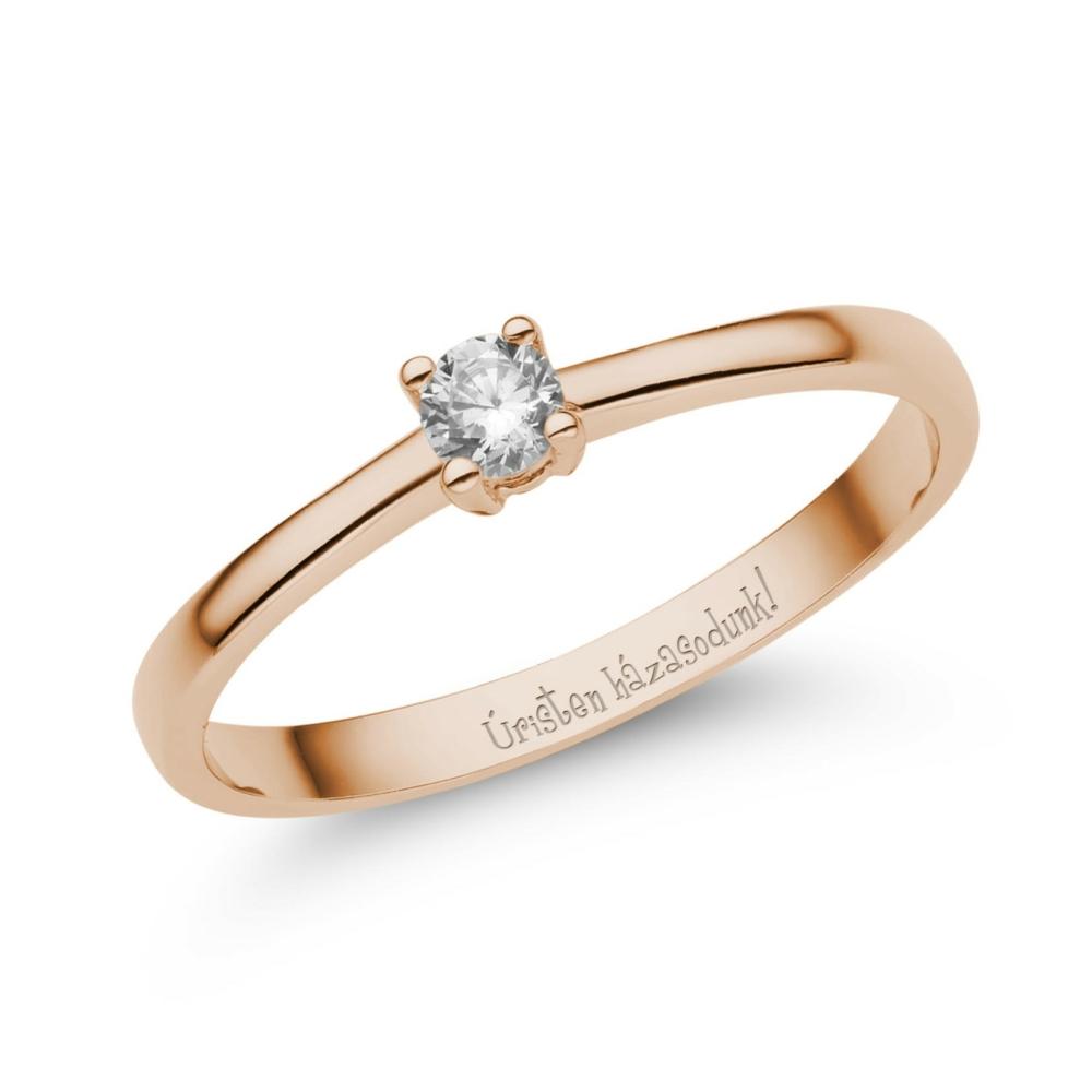 E365RC - CIRKÓNIA köves rozé arany Eljegyzési Gyűrű