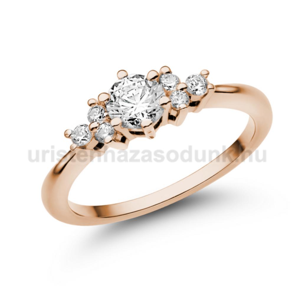 E101RC - CIRKÓNIA köves rozé arany Eljegyzési Gyűrű
