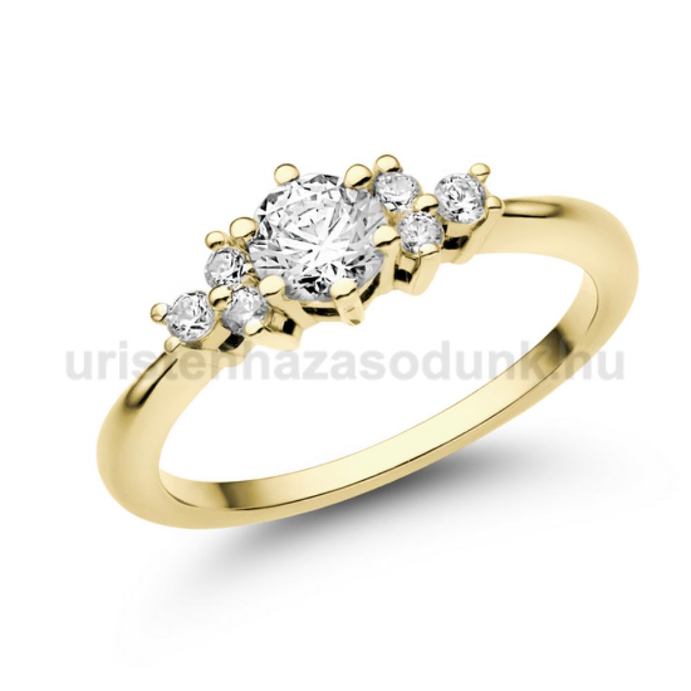 E101SC - CIRKÓNIA köves sárga arany Eljegyzési Gyűrű