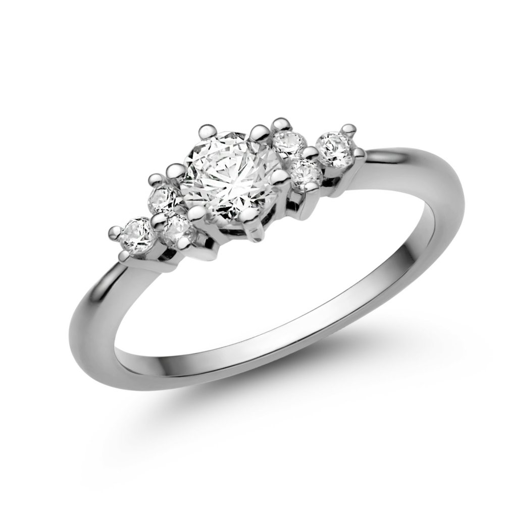 E101FC - CIRKÓNIA köves fehér arany Eljegyzési Gyűrű