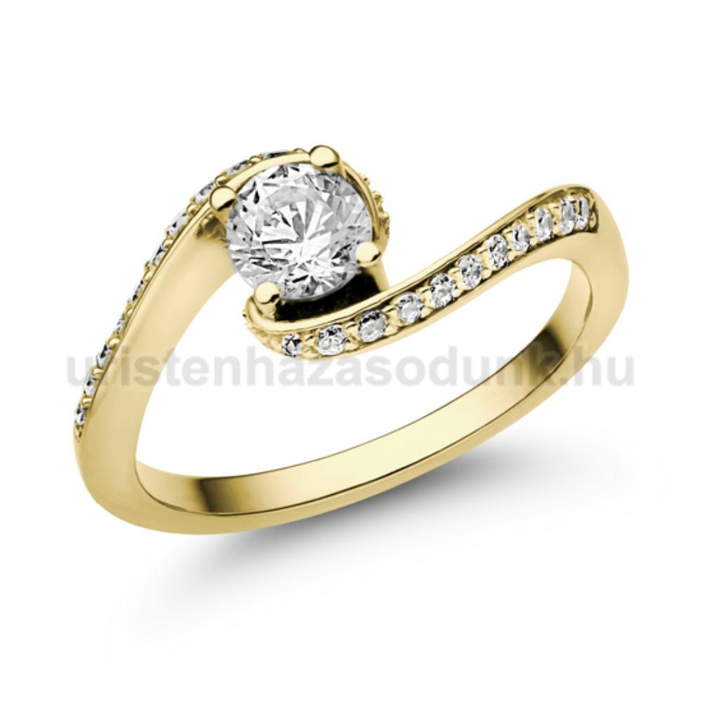E103SC - CIRKÓNIA köves sárga arany Eljegyzési Gyűrű