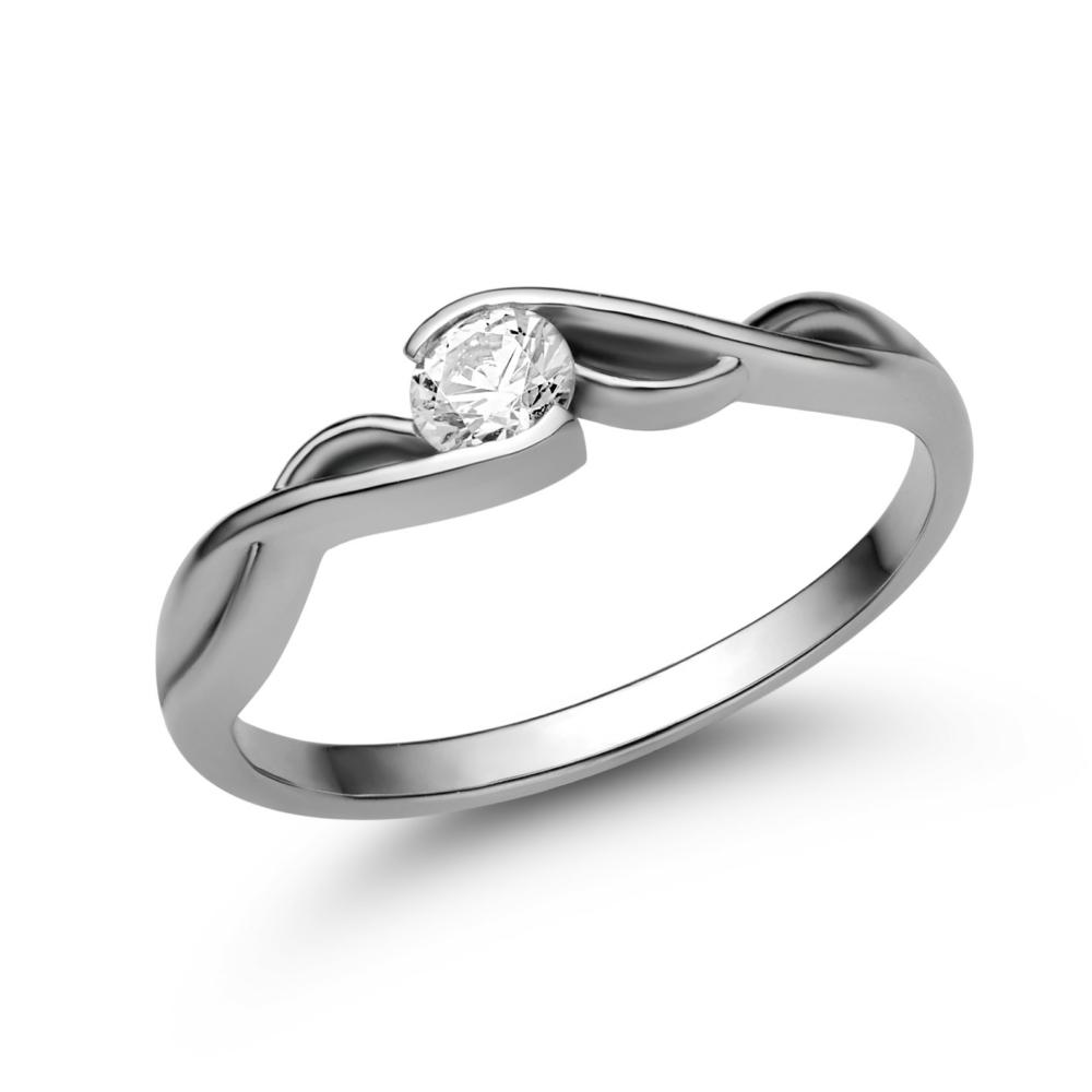 E104FC - CIRKÓNIA köves fehér arany Eljegyzési Gyűrű