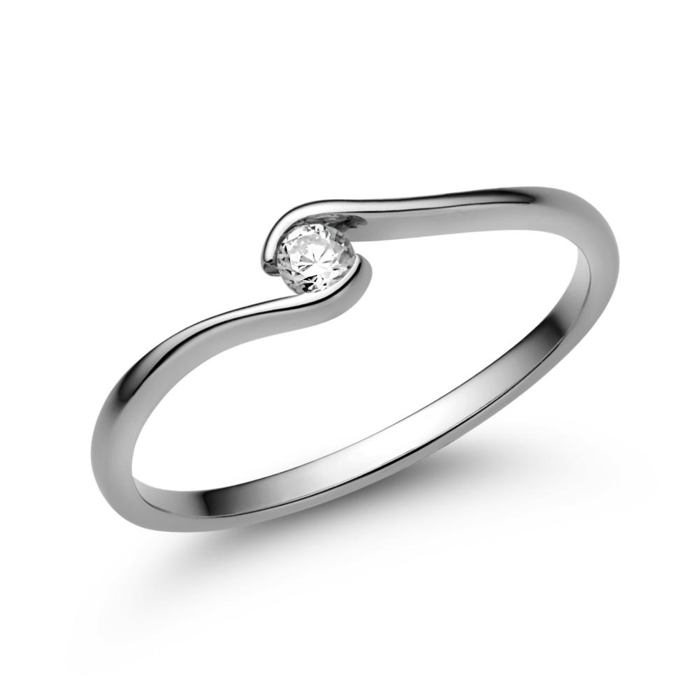 E105FC - CIRKÓNIA köves fehér arany Eljegyzési Gyűrű