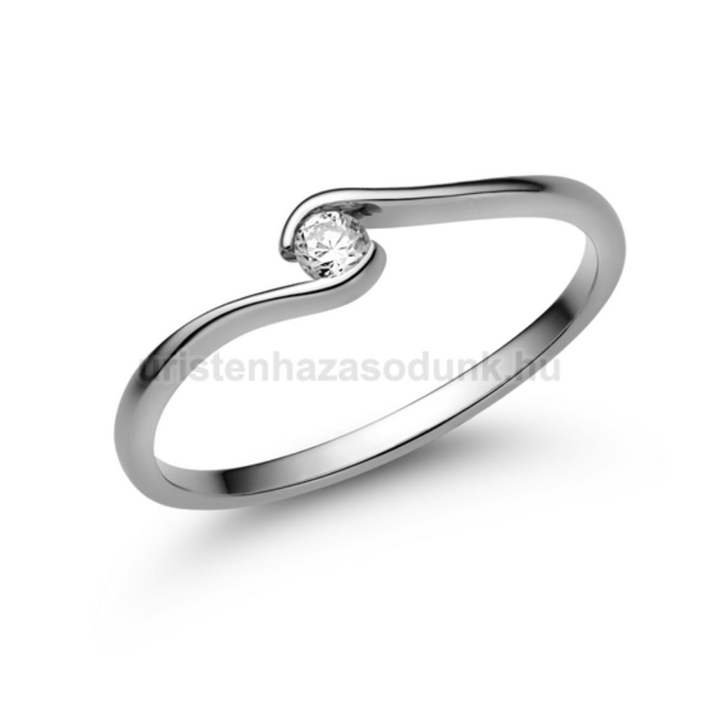 E105FZF - FEHÉR ZAFÍR  köves fehér arany Eljegyzési Gyűrű