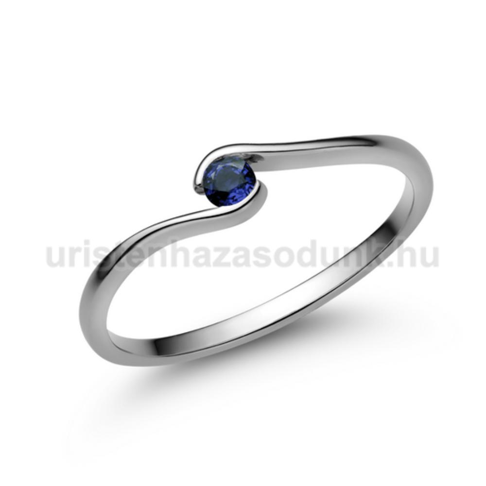 E105FZK - KÉK ZAFÍR  köves fehér arany Eljegyzési Gyűrű
