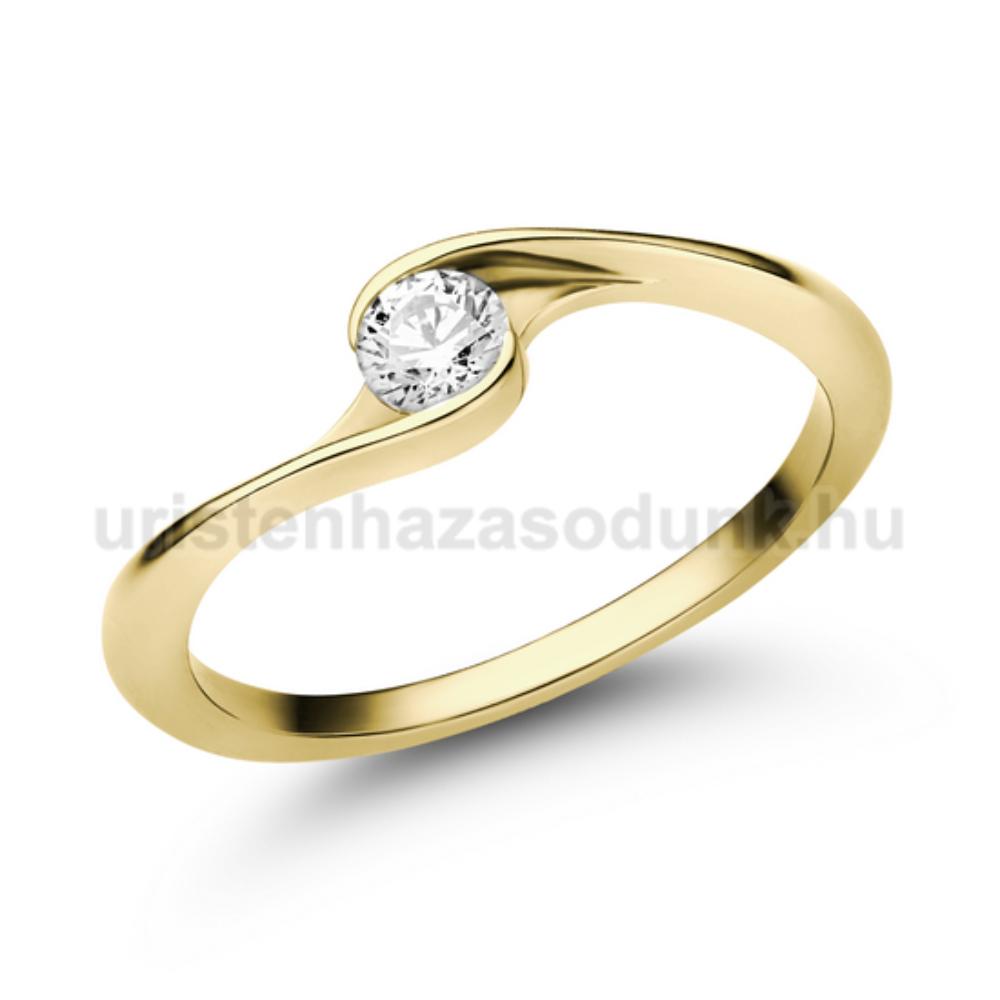 E106SC - CIRKÓNIA köves sárga arany Eljegyzési Gyűrű