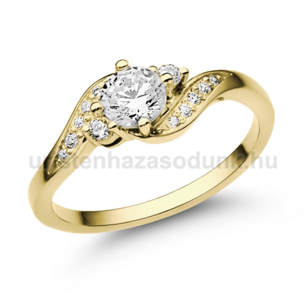 E107SC - CIRKÓNIA köves sárga arany Eljegyzési Gyűrű