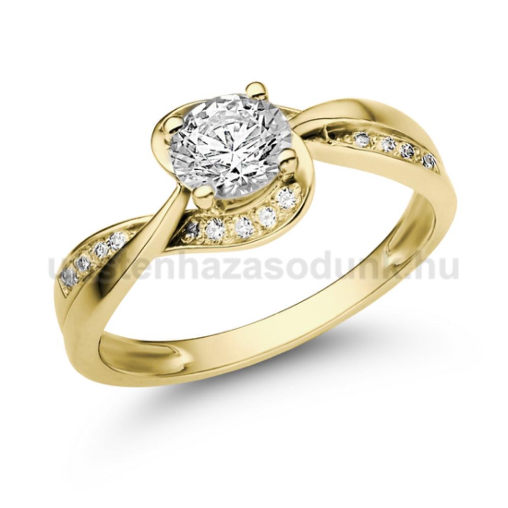 E108SC - CIRKÓNIA köves sárga arany Eljegyzési Gyűrű