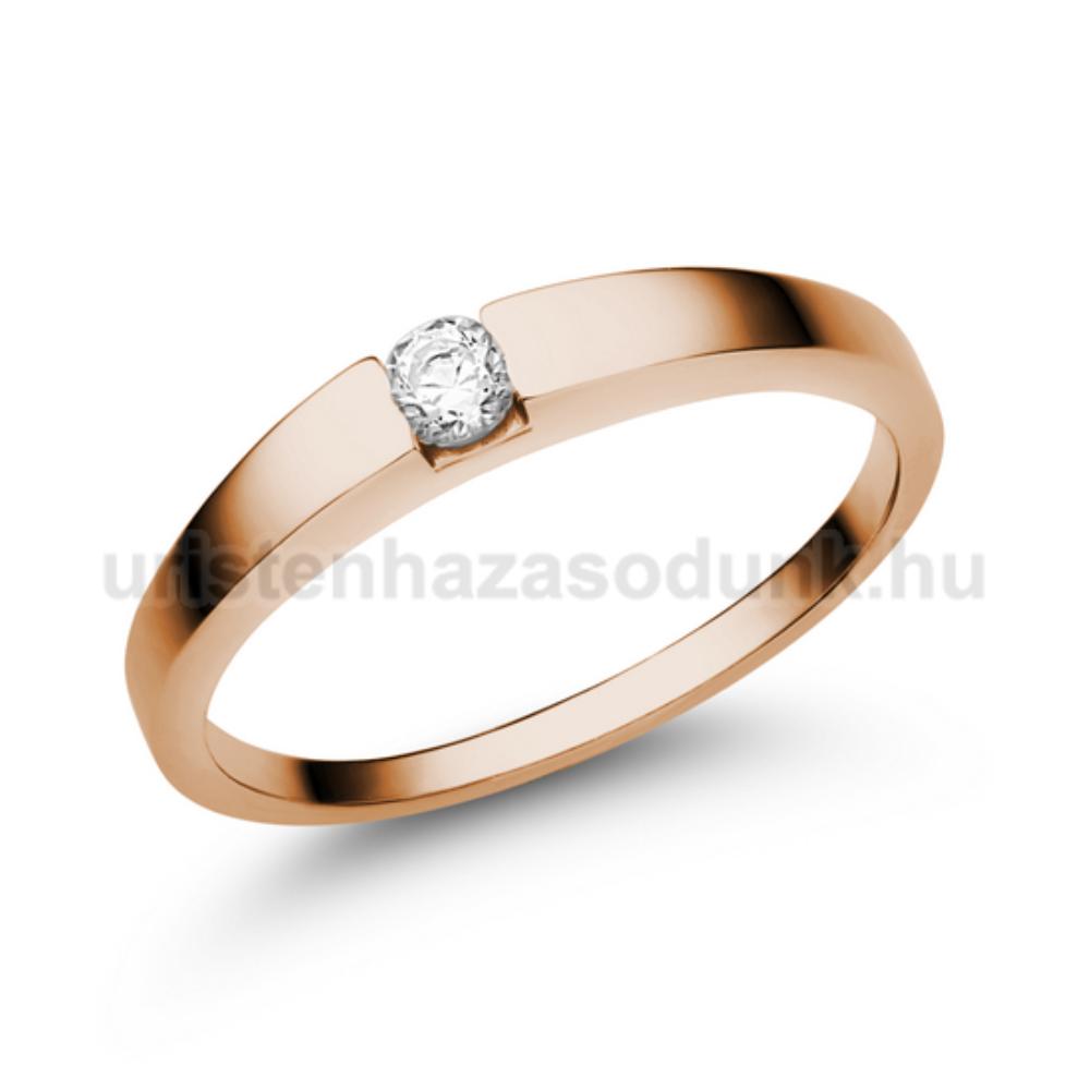E10RC - CIRKÓNIA köves rozé arany Eljegyzési Gyűrű