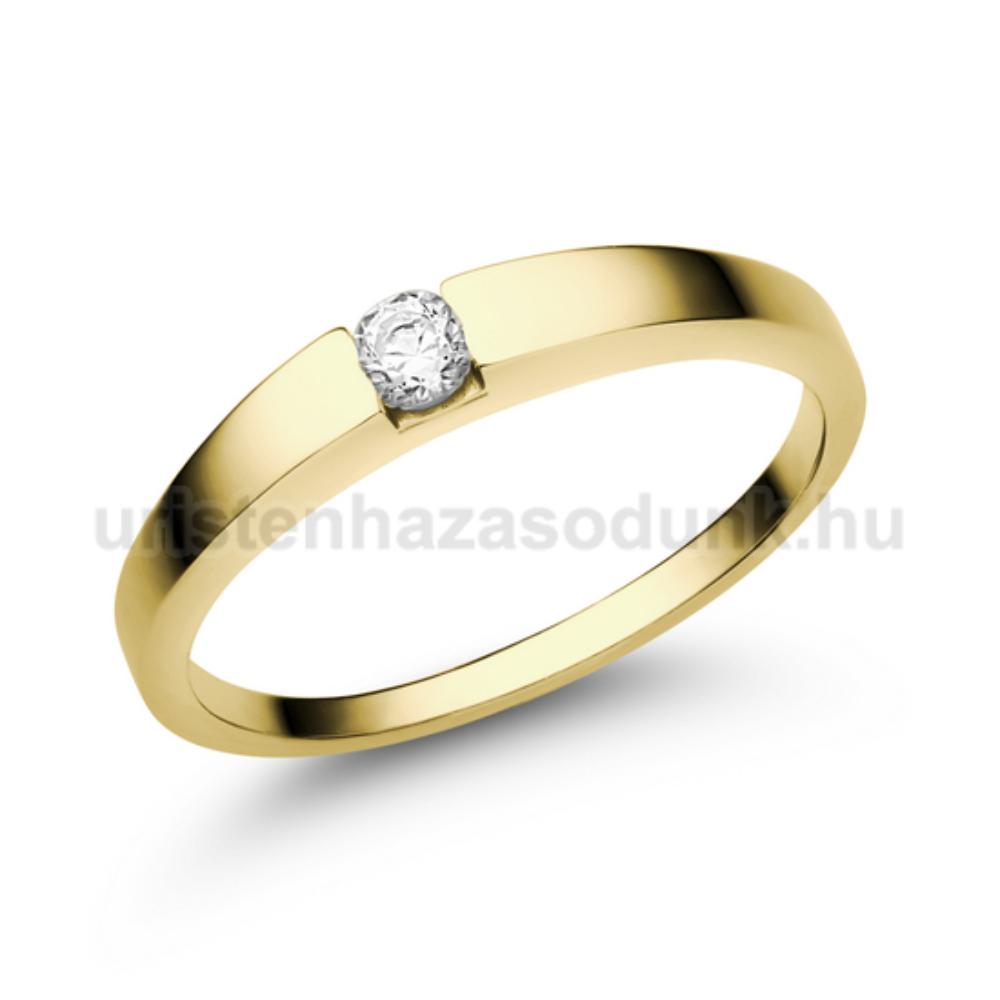 E10SC - CIRKÓNIA köves sárga arany Eljegyzési Gyűrű