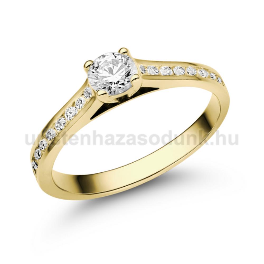 38e6b65c47 E111SC - CIRKÓNIA köves sárga arany Eljegyzési Gyűrű - Exkluzív ...