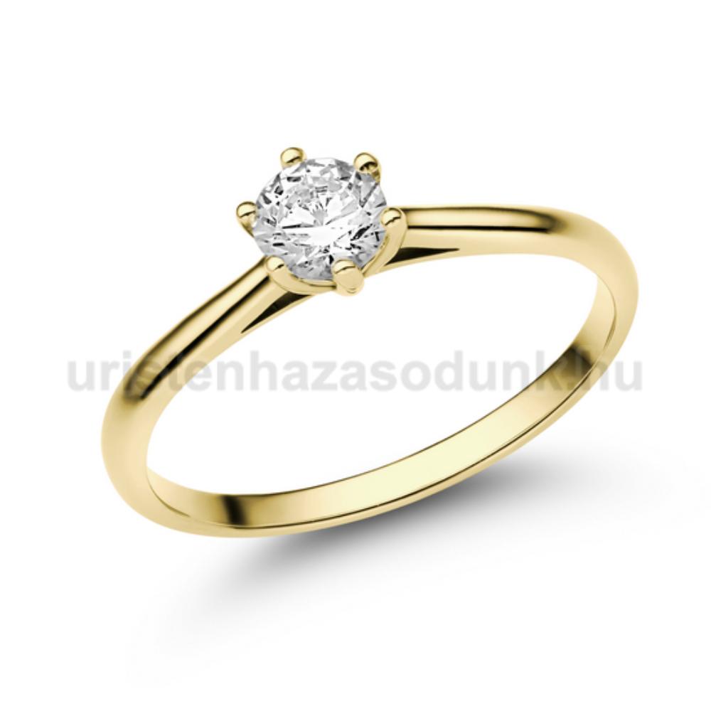 E114SC - CIRKÓNIA köves sárga arany Eljegyzési Gyűrű