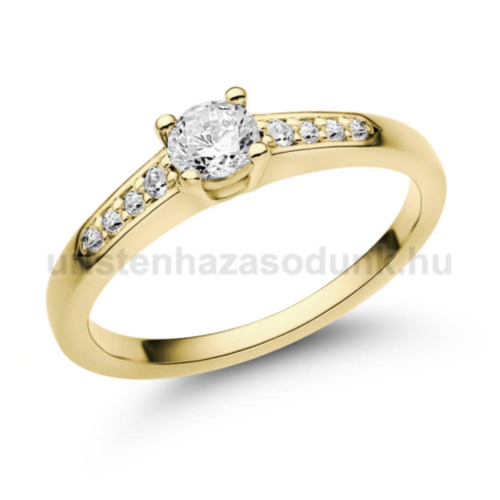 E115SC - CIRKÓNIA köves sárga arany Eljegyzési Gyűrű