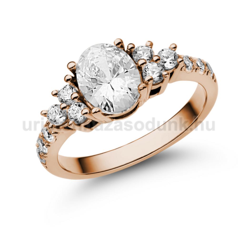 E117RC - CIRKÓNIA köves rozé arany Eljegyzési Gyűrű
