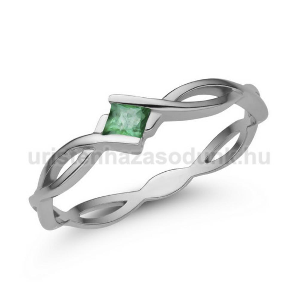 E11FS - SMARAGD köves fehér arany Eljegyzési Gyűrű