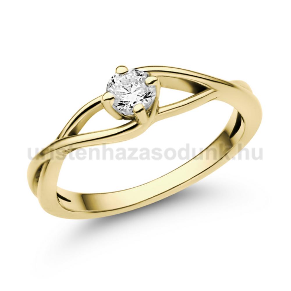 E120SC - CIRKÓNIA köves sárga arany Eljegyzési Gyűrű
