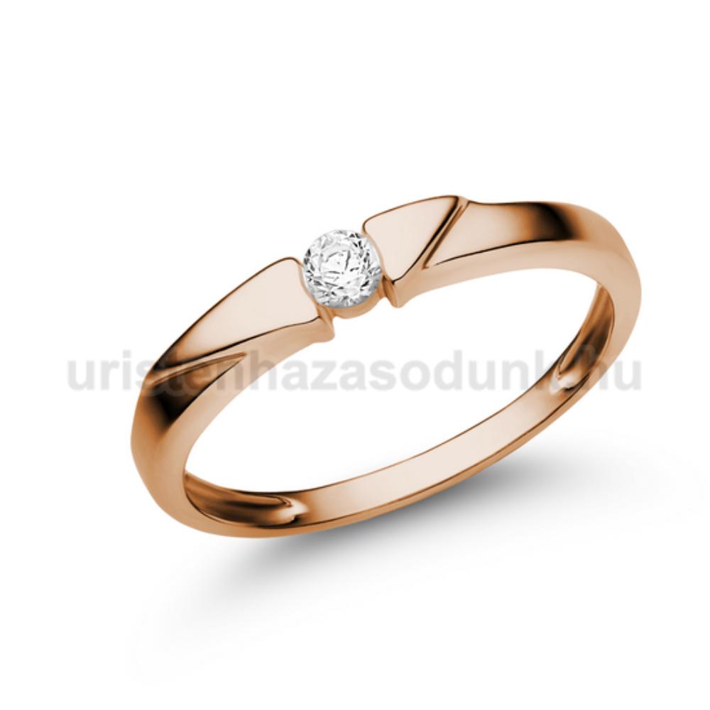 E12RC - CIRKÓNIA köves rozé arany Eljegyzési Gyűrű