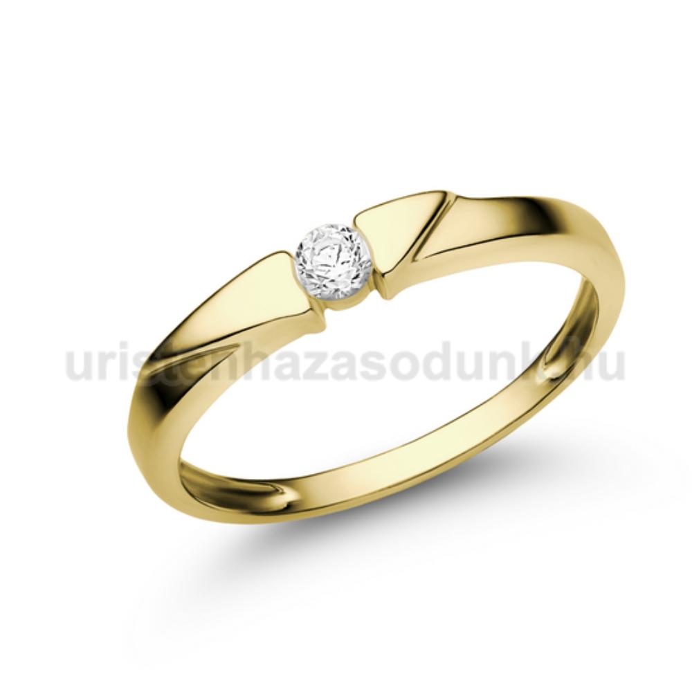 E12SC - CIRKÓNIA köves sárga arany Eljegyzési Gyűrű
