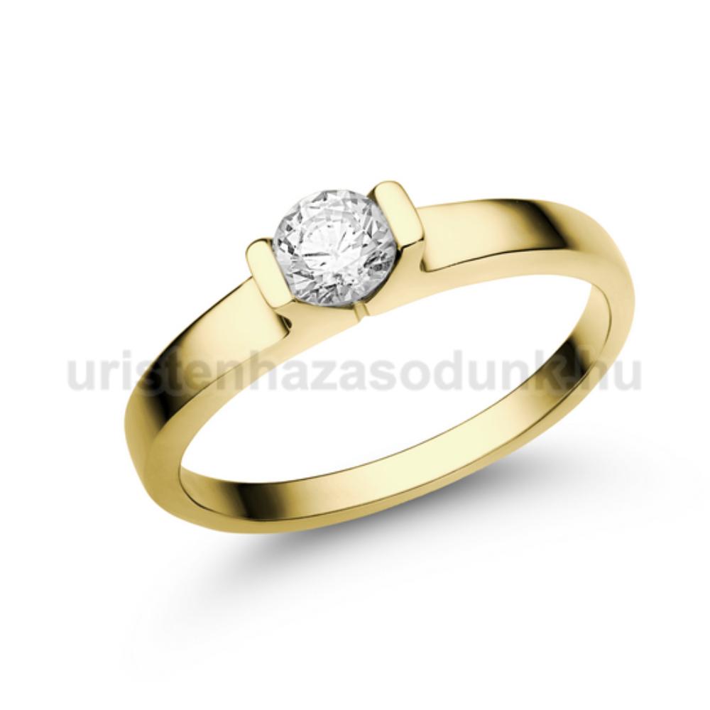 E13SC - CIRKÓNIA köves sárga arany Eljegyzési Gyűrű