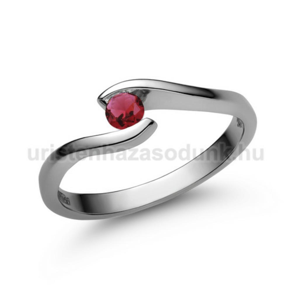 E14FR - RUBIN köves fehér arany Eljegyzési Gyűrű