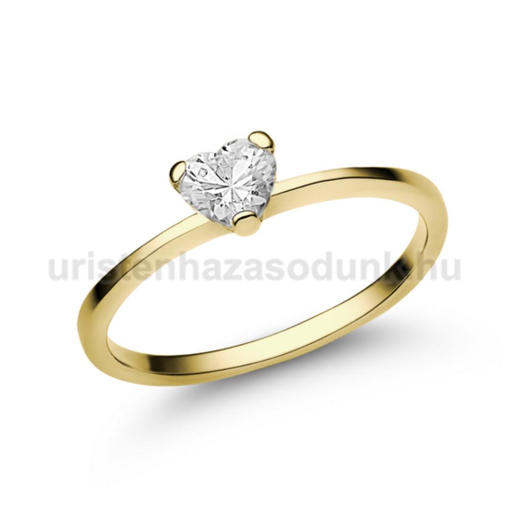 E15SC - CIRKÓNIA köves sárga arany Eljegyzési Gyűrű