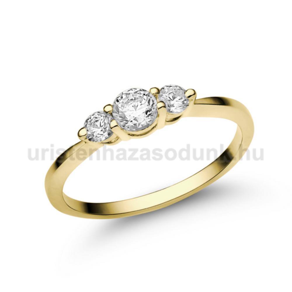 E16SC - CIRKÓNIA köves sárga arany Eljegyzési Gyűrű