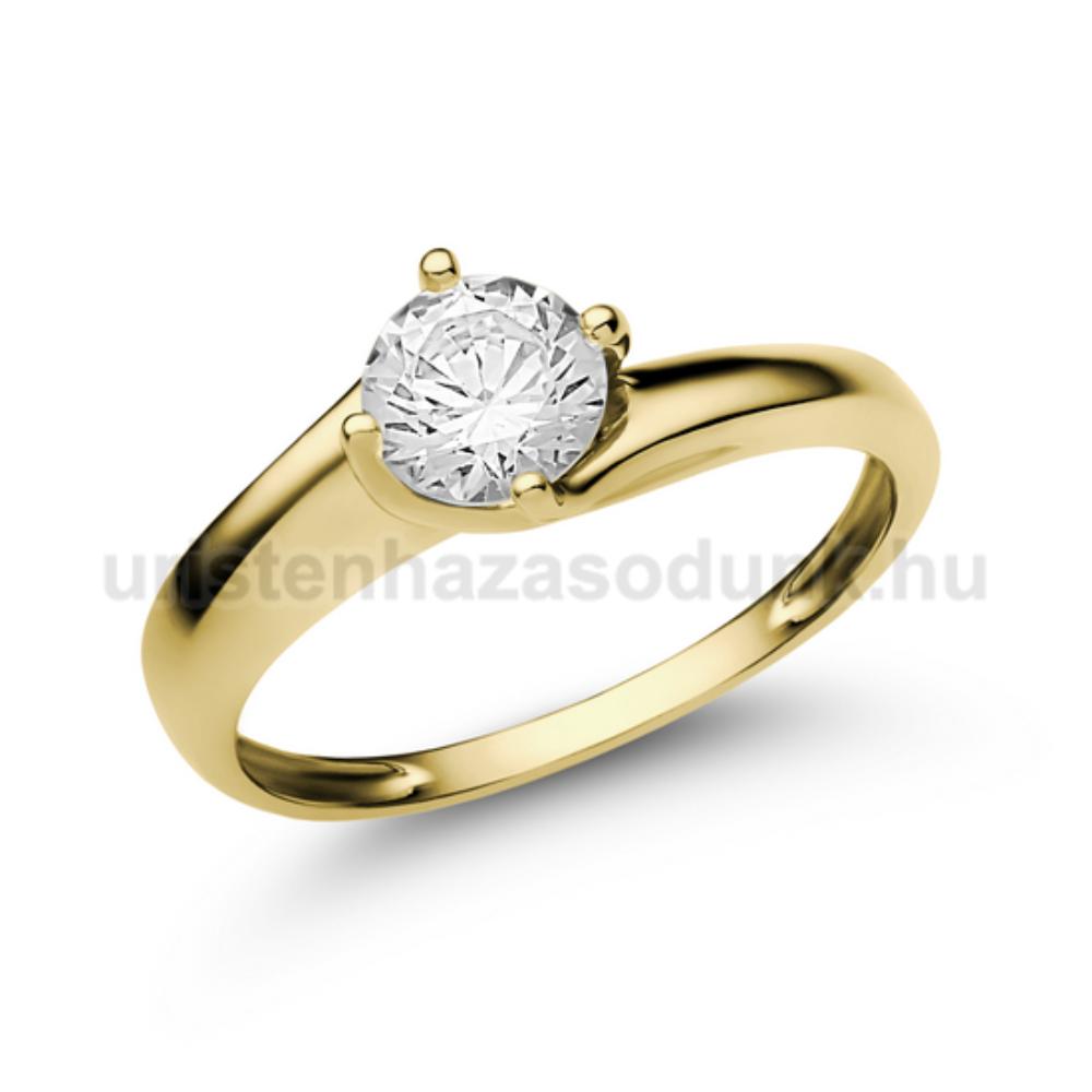 E19SC - CIRKÓNIA köves sárga arany Eljegyzési Gyűrű