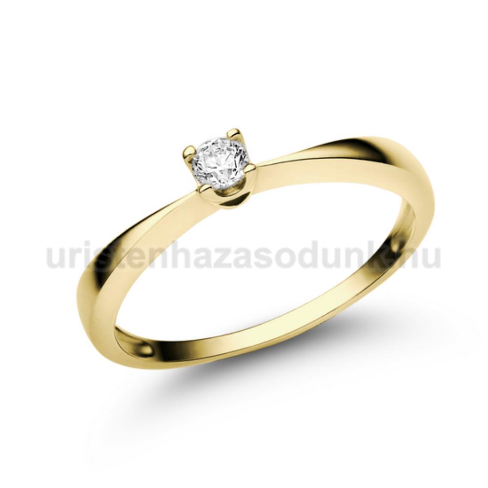 E1SC - CIRKÓNIA köves sárga arany Eljegyzési Gyűrű