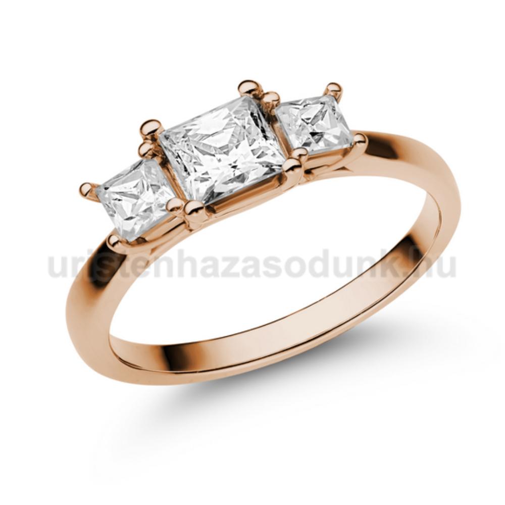 E201RC - CIRKÓNIA köves rozé arany Eljegyzési Gyűrű