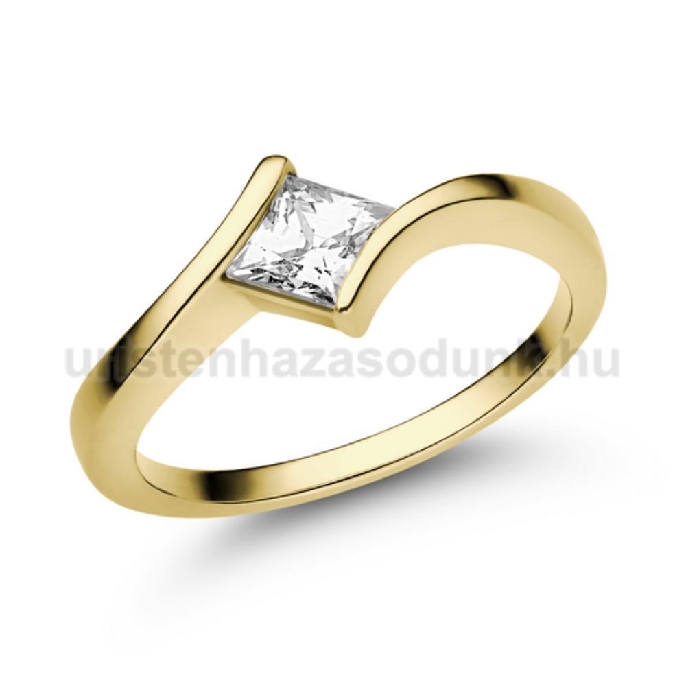 E202SC - CIRKÓNIA köves sárga arany Eljegyzési Gyűrű