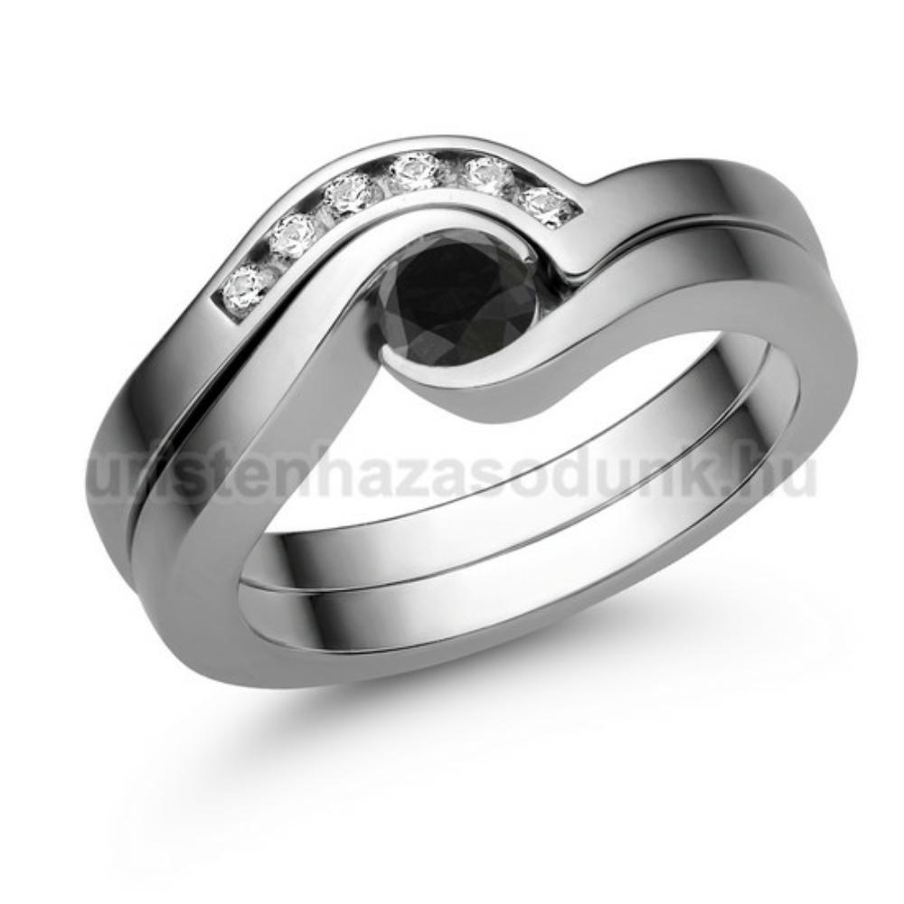E204FBB_C - FEKETE GYÉMÁNT - CIRKÓNIA Eljegyzési gyűrű