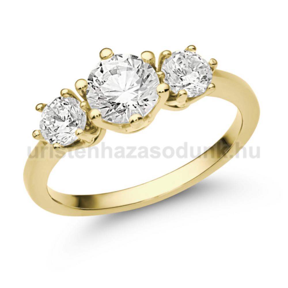 E205SC - CIRKÓNIA sárga arany Eljegyzési Gyűrű