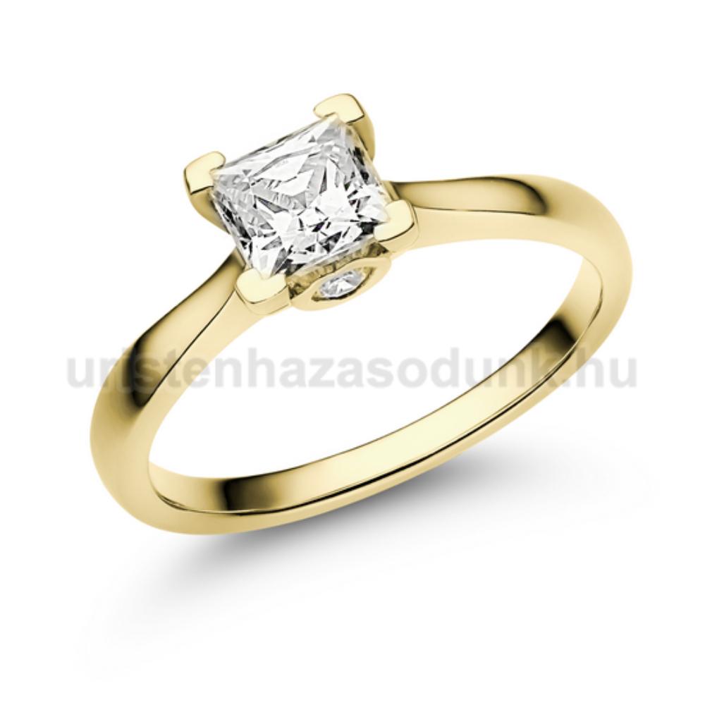E206SC - CIRKÓNIA köves sárga arany Eljegyzési Gyűrű