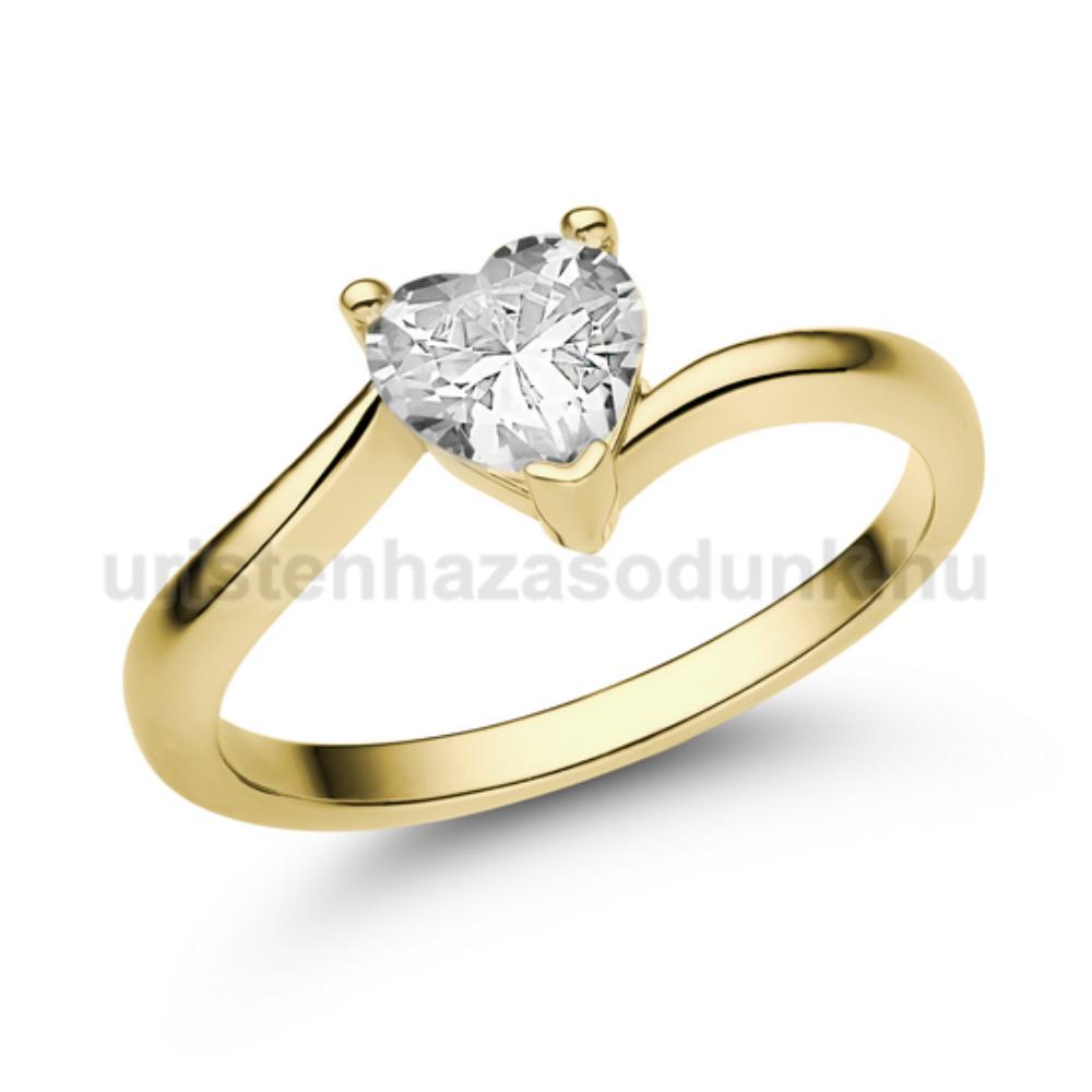 E207SC - CIRKÓNIA köves sárga arany Eljegyzési Gyűrű