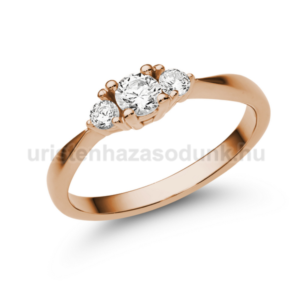 E208RC - CIRKÓNIA köves rozé arany Eljegyzési Gyűrű