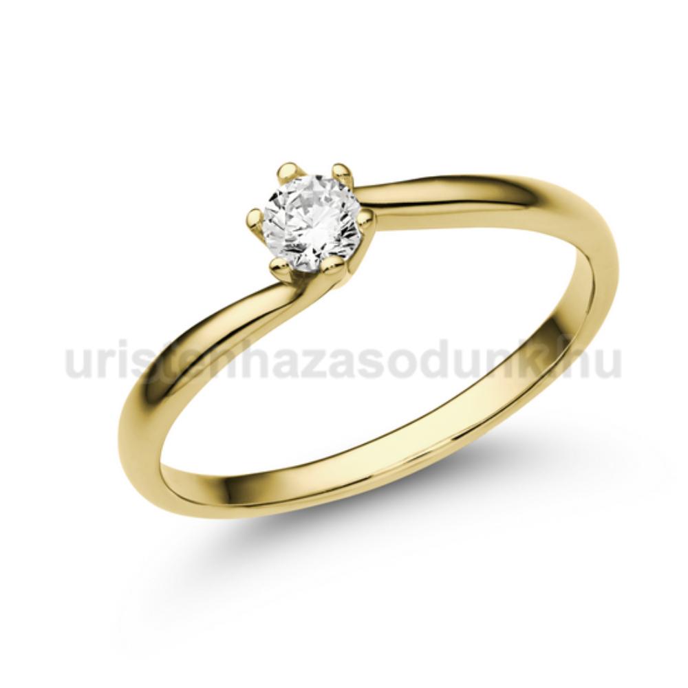 E209SC - CIRKÓNIA köves sárga arany Eljegyzési Gyűrű