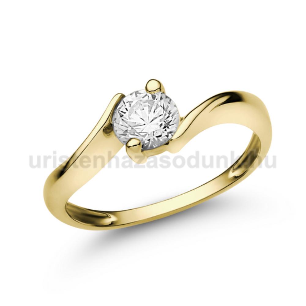 E20SC - CIRKÓNIA köves sárga arany Eljegyzési Gyűrű