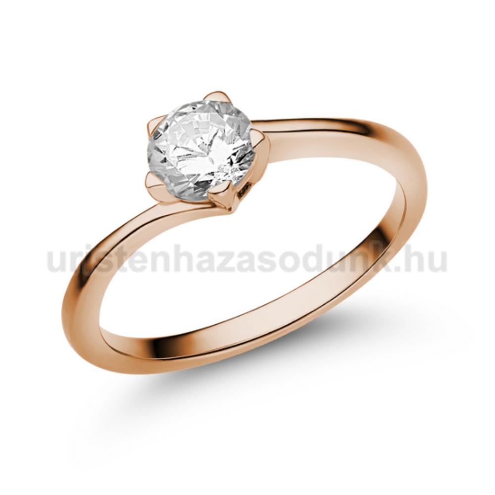 E214RC - CIRKÓNIA köves rozé arany Eljegyzési Gyűrű