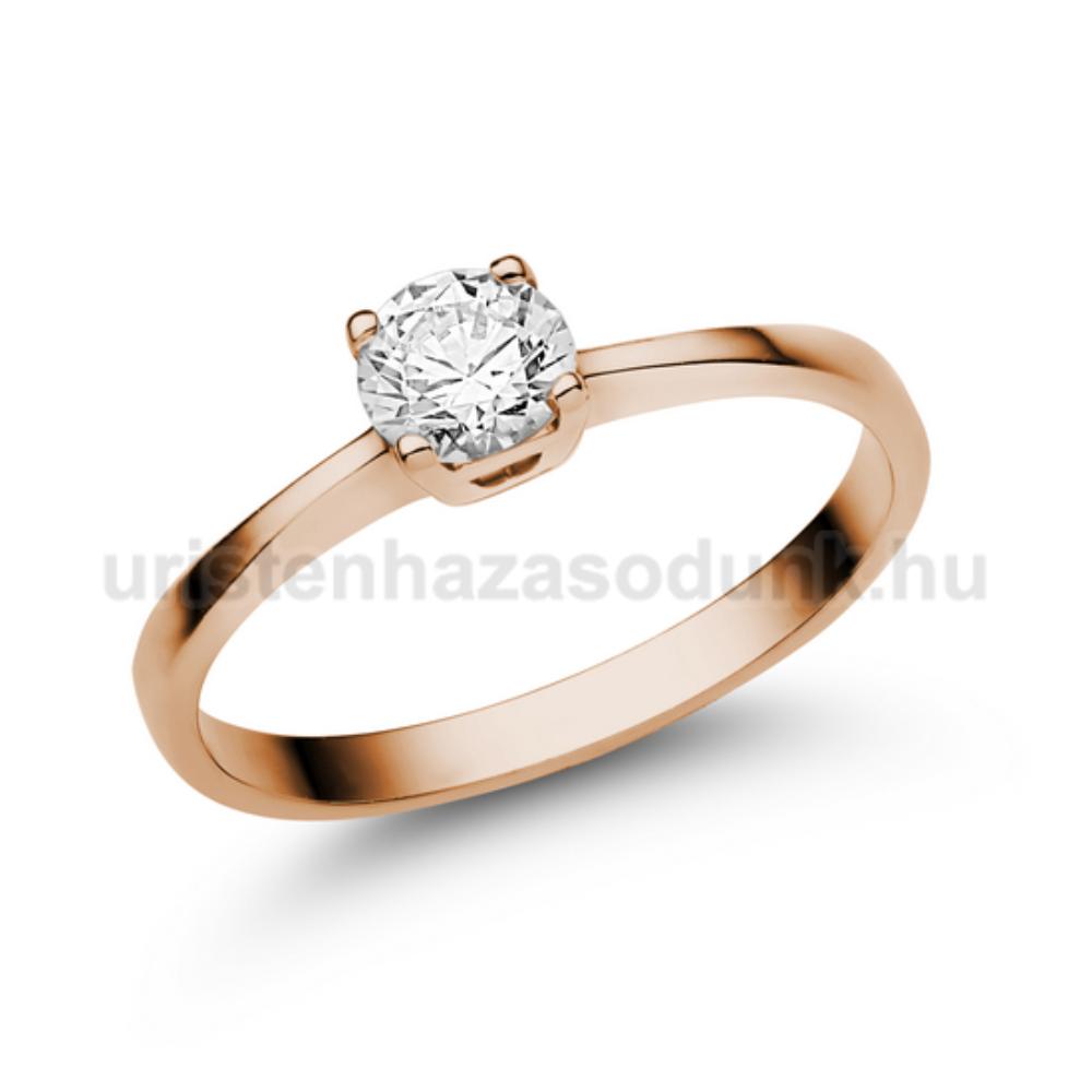 E21RC - CIRKÓNIA köves rozé arany Eljegyzési Gyűrű