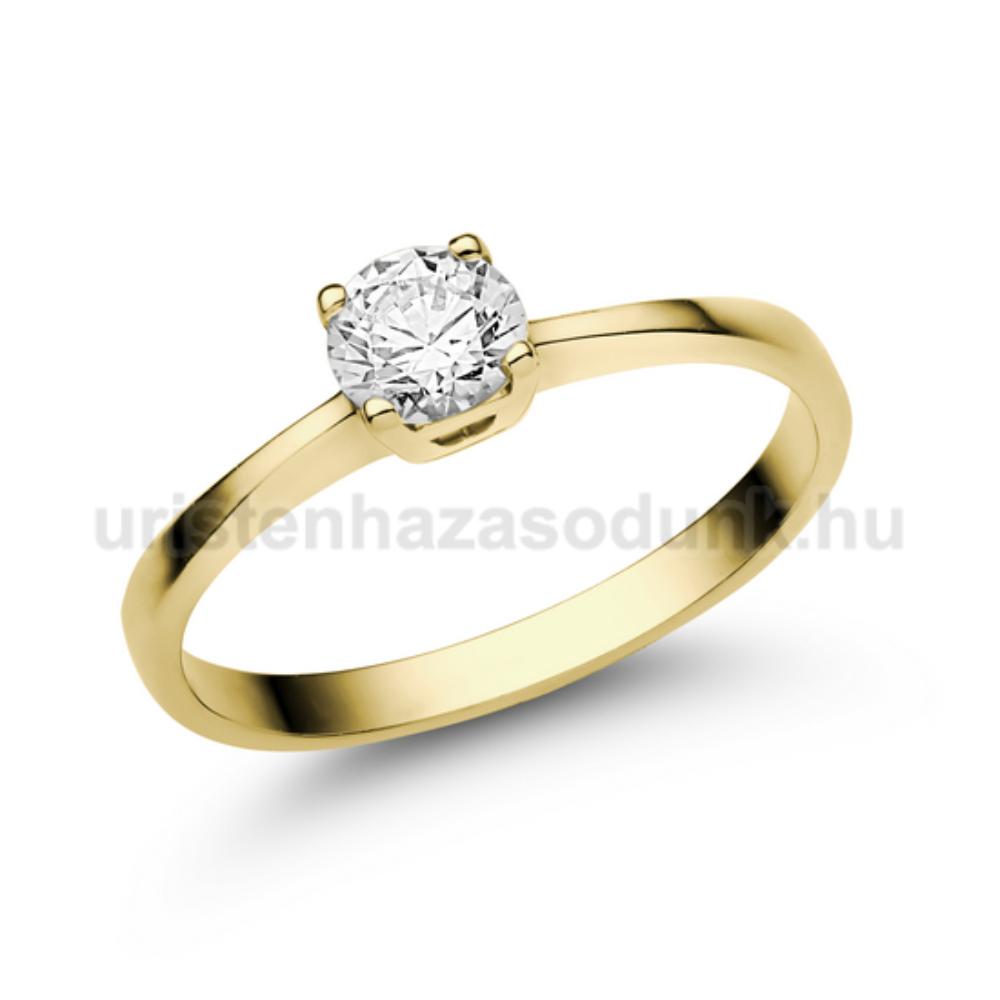 E21SC - CIRKÓNIA köves sárga arany Eljegyzési Gyűrű