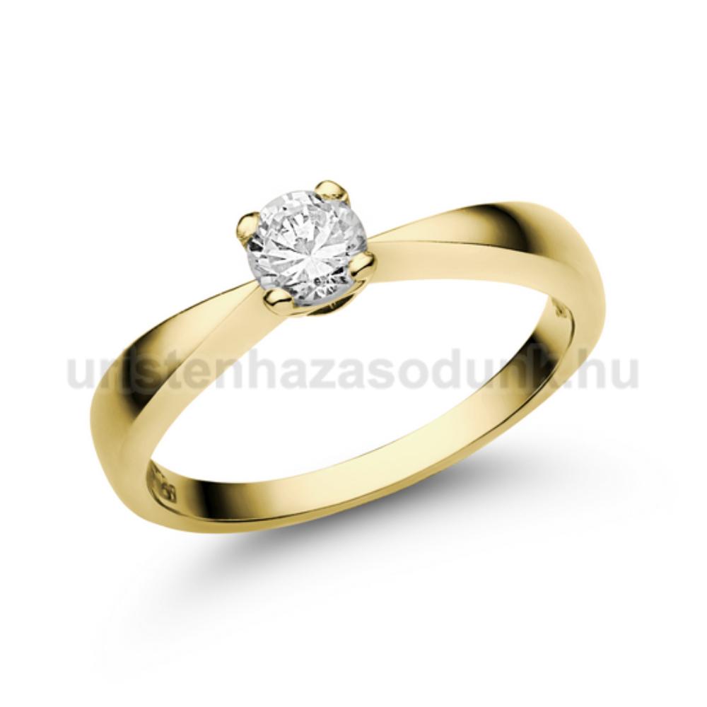 E23SC - CIRKÓNIA köves sárga arany Eljegyzési Gyűrű