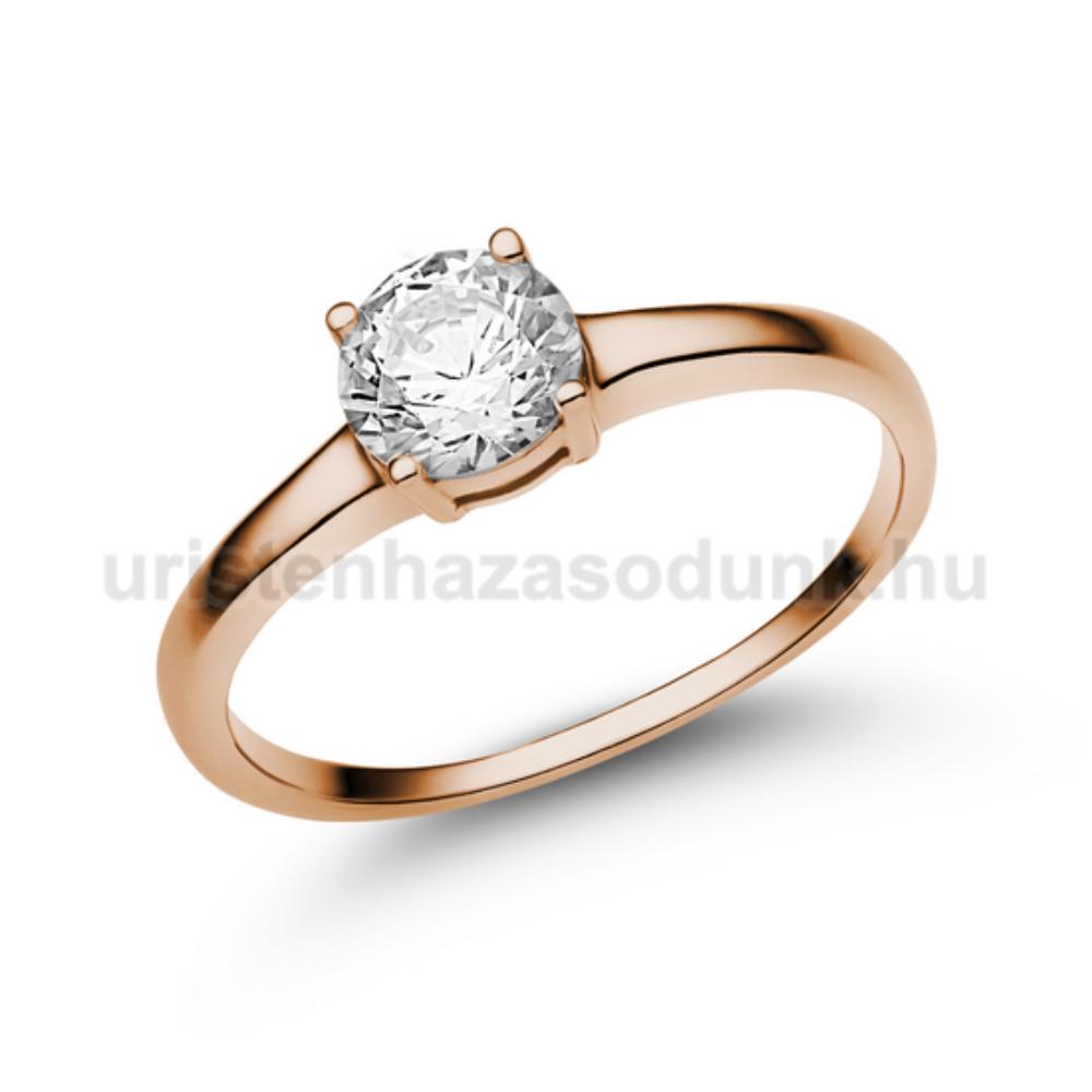 E24RC - CIRKÓNIA köves rozé arany Eljegyzési Gyűrű