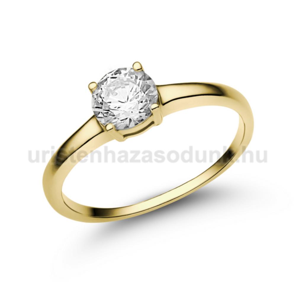 E24SC - CIRKÓNIA köves sárga arany Eljegyzési Gyűrű
