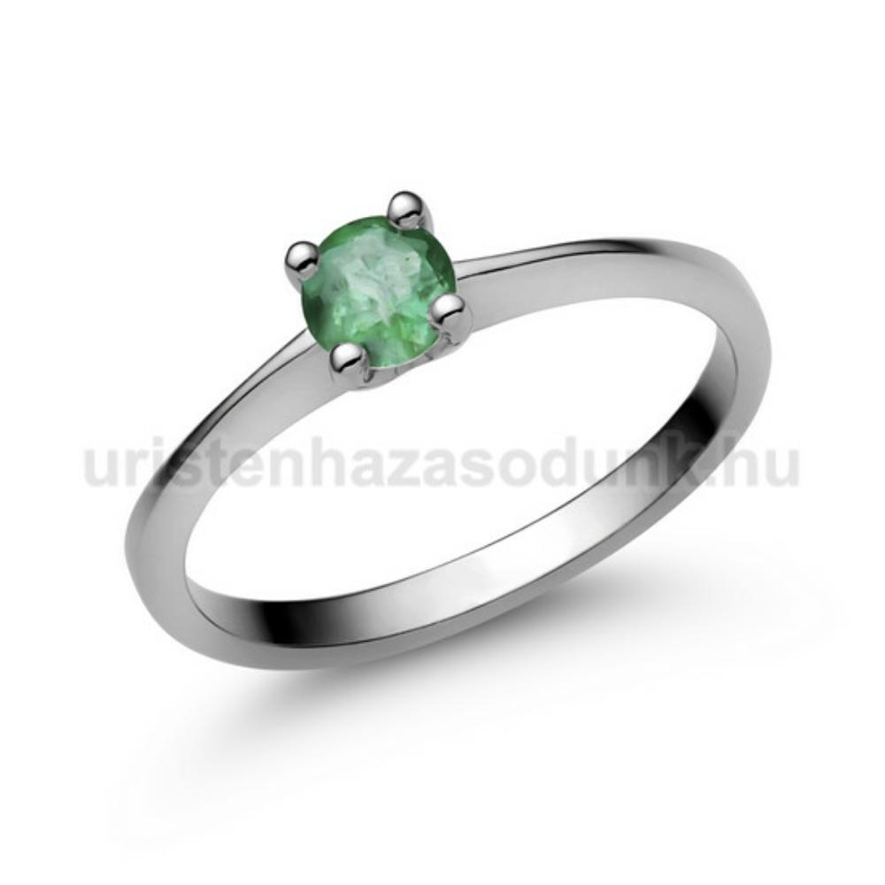 E25FS - SMARAGD köves fehér arany Eljegyzési Gyűrű