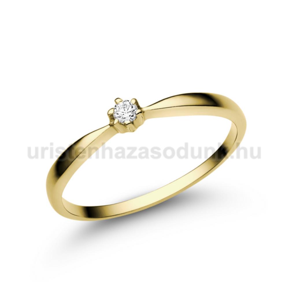 E30SC - CIRKÓNIA köves sárga arany Eljegyzési Gyűrű