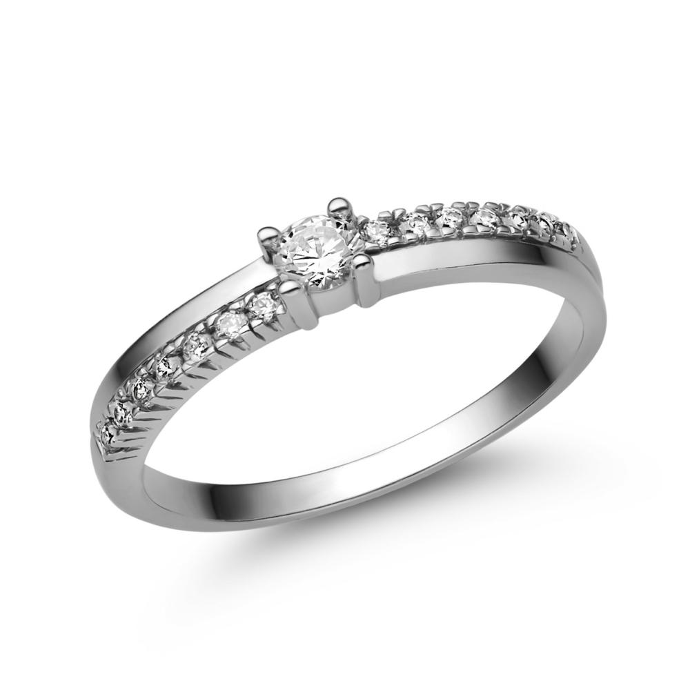 E311FC - CIRKÓNIA köves fehér arany Eljegyzési Gyűrű