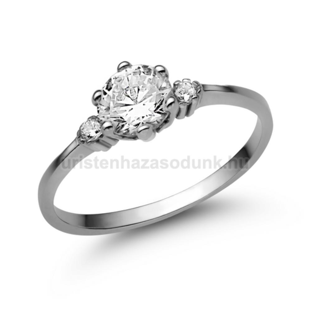 E312FC - CIRKÓNIA köves fehér arany Eljegyzési Gyűrű