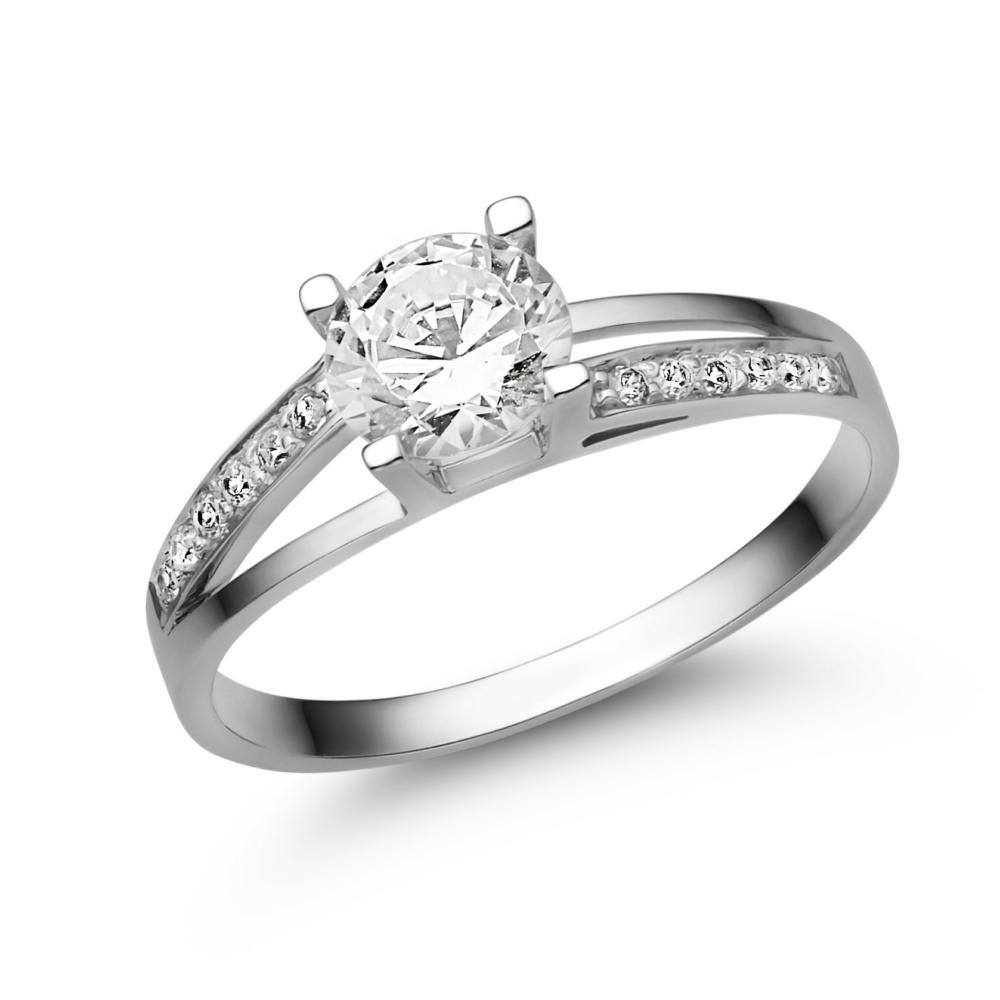 E317FC - CIRKÓNIA köves fehér arany Eljegyzési Gyűrű