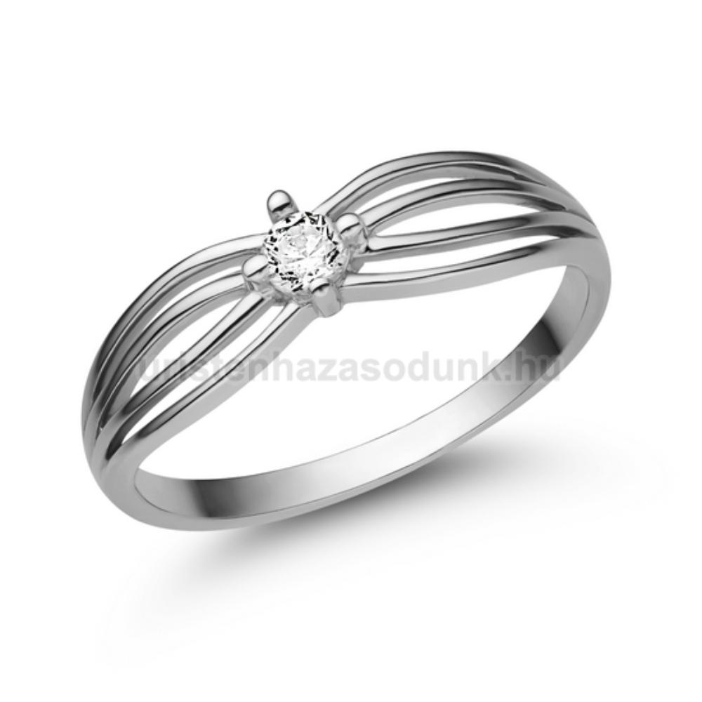 E321FC - CIRKÓNIA köves fehér arany Eljegyzési Gyűrű