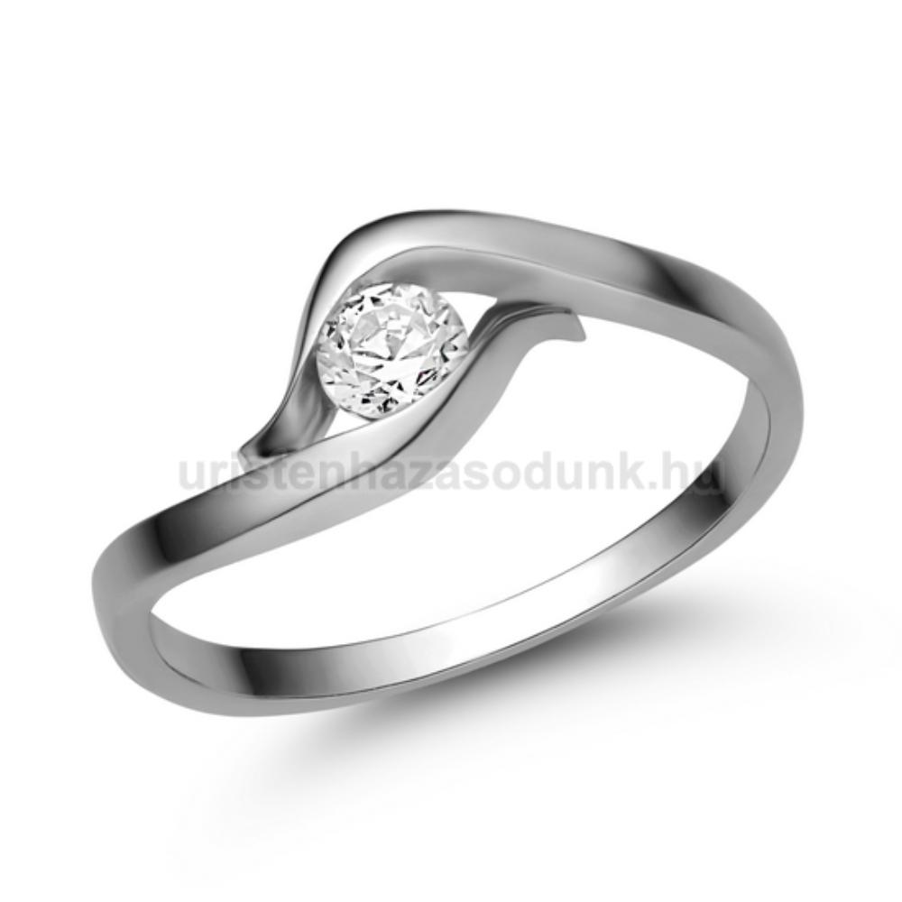 E326FC - CIRKÓNIA köves fehér arany Eljegyzési Gyűrű